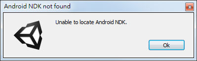 Unable to locate Android NDK unity